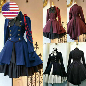 Vintage Gothic Dress Lace Up Lolita Sweet Ruffle Bowtie Button Knee Length Dress