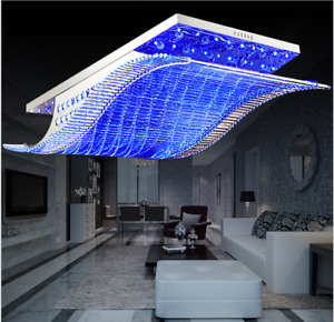 7-Color K9 Crystal Ceiling Light LED Chandelier Remote Control Pendant Lighting