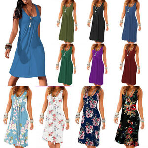Summer Women Loose Solid A Line Sleeveless Midi Dress Casual Sundress Plus Size