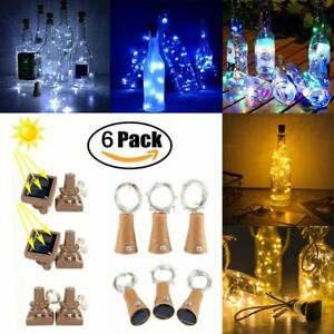 6Pcs 10 LED Solar Wine Bottle Lights Cork Copper Wire String Fairy Lights Party