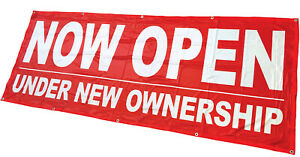 3x8 ft NOW OPEN UNDER NEW OWNERSHIP Banner Sign rb Polyester Fabric $29.95