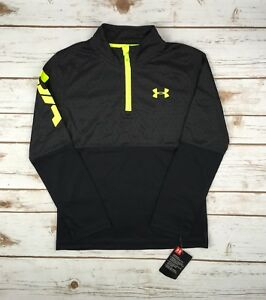 Boys Under Armour 1 4 Zip Black Yellow UA Printed LS Pullover 4 5 6 7 Youth $17.49