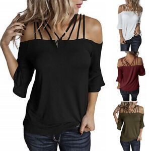 US Womens Off Shoulder Tunic Tops Plus Size Spaghetti Strap T Shirt Sexy Blouse