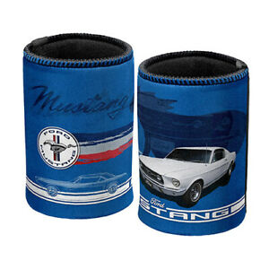 FORD MUSTANG PONY Badge Blue Can Cooler Stubby holder Beer Cosy Man Cave Gift AU $10.95