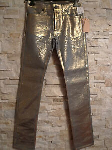 JOHN GALLIANO RARE LOW-RISE SLIM GOLD BRUSHED MENS SEXY JEANS ITALY SIZE 4832