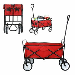 New Collapsible Wagon Cart Kid Beach Folding Camping Trolley Garden Utility Cart