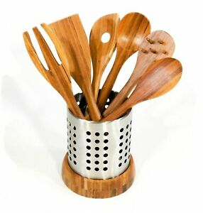 NEW- 6-Piece Bamboo Utensil Set Stainless Steel Storage Caddy - FREE SHIPPING