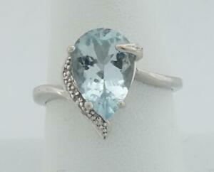 10K white gold ladies sz  9 teardrop pear aquamarine +diamond cocktail ring 3.8g