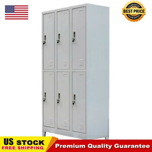 School Office Locker Cabinet with 6 Compartments Steel 35.4