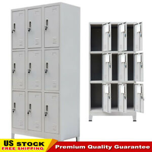 Changing Room Locker Cabinet with 9 Compartments Steel 35.4