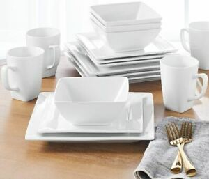 16 Piece Square Porcelain Dinnerware Set White Dinner Plates Dishes $55.43