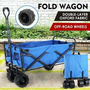 All Terrain Collapsible Wagon Cart Heavy Duty Adjustable Handles for Kids Beach