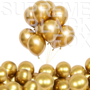50 Gold Metallic Balloons Chrome Shiny Latex 12 Thicken For Wedding Party Baby