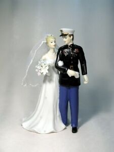 Personalized Marine USMC Enlisted Military Groom Bride Interracial  Cake topper