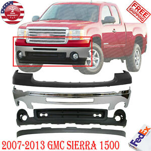 Front Bumper Chrome Steel + UP & Low Bumper Cover  For 2007-2013 GMC Sierra 1500