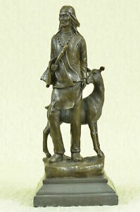 Native American Indian Art Chief Deer Warrior Bronze Marble Statue Sculpture