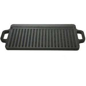 Reversible Griddle Small Cast Iron Seasoned Camping Grill Cookware Rectangle