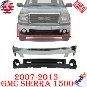 Front Bumper Chrome Steel + Lower Valance For 2007-2013 GMC Sierra 1500 Pickup