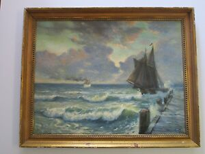 ANTIQUE PAINTING OVER 100 YEAR OLD RESTORATION PROJECT NAUTICAL SEASCAPE SHIPS $520.00