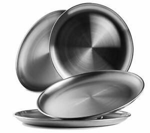 Reusable Brushed Metal 188 Dinner Plates- Vintage Quality 304 Stainless Steel S