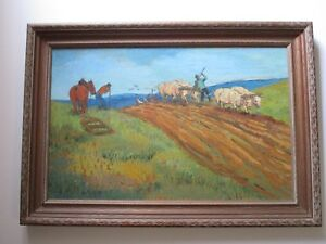 DANIEL ROUVIERE PAINTING VINTAGE  WPA STYLE WORKERS FARMERS CROPS VAN GOGH ESQUE