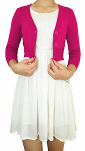 Women Cropped Cardigan 3 4 Sleeve Fitted V Neck Soft Knit Regular Plus Size $13.99