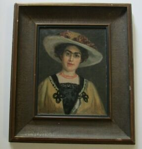 MASTERFUL AMERICAN PORTRAIT PAINTING OIL SIGNED MYSTERY ARTIST FRIDA ESQUE WOMAN $804.00