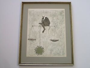 OSSI CZINNER LITHOGRAPH ABSTRACT SURREAL SIGNED DEDICATED TO VINCENT PRICE LIBRA $297.00
