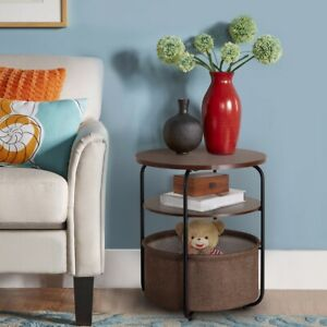 Round Side Table End Table with Fabric Storage Basket in Livingroom, Nightstand