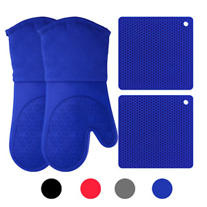 Silicone Oven Mitts and Potholders 4-Piece Set Heavy Duty Cooking Gloves