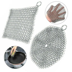 Stainless Steel Cast Iron Cleaner Chain Mail Scrubber Tool Home Kitchen Cookware