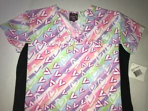 Divine Scrubs Heart Scrub Small 4 Pockets NEW