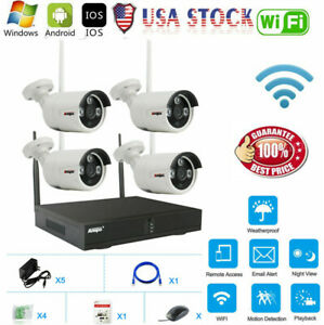 4CH Wireless Wifi Home Security Camera System NVR 1MP CCTV IR Night Vision IP66