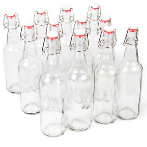 16 oz. Clear Glass Grolsch Beer Bottles – Airtight Seal Swing Top Lids 12 pack