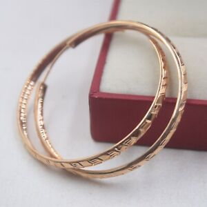 Real Pure 18K Rose Gold Hoop Women Special Carved Big Earrings  3.9g