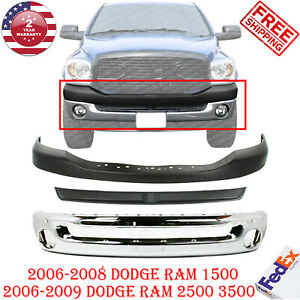 FRONT Bumper Chrom Text + Inner Filler + Up Cover For 06-09 Dodge Ram 1500-3500