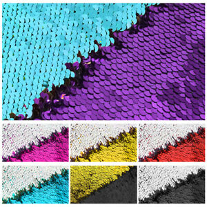 1/2 Yards Reversible Mermaid Sequin Fabric for Crafts Wedding Backdrop 51