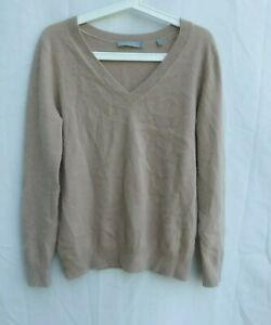 Women's Vince 100% Cashmere Sweater SMALL Tan Ribbed Trim Loose Fit