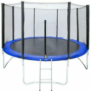 12' Trampolines Round Outdoor with Enclosure W Spring Pad Ladder Toy Backyard