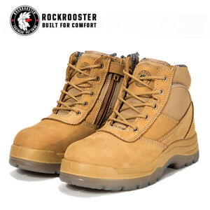 ROCKROOSTER Work Boots Steel Toe Safety Wheat Zip-Sider nubuck leather AK050