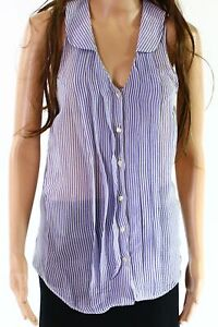 Vince. NEW Blue White Womens Size Small S Striped Button Down Blouse $304- 449