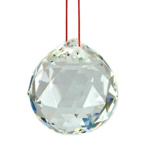 FENG SHUI HANGING CRYSTAL BALL Clear Faceted Sphere Sun Catcher Rainbow Prism