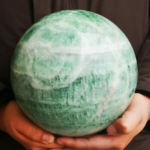 24.46LB HUGE NATURAL GREEN Fluorite quartz crystal sphere ball healing YK118