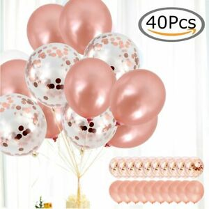 40x Latex Confetti Balloons Rose Gold 12