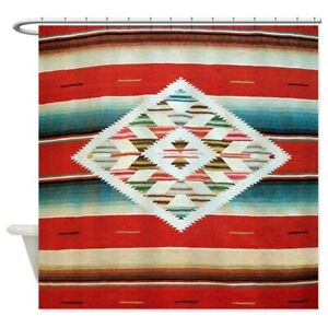 CafePress Vintage Red Mexican Serape Shower Curtain (662935710)