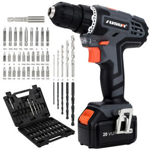 20V Cordless Drill/Driver & Impact Driver with Bits Set & 2.0Ah Li-Ion Battery