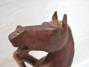 Exotic Wood Rearing Horse Carved Sculpture Figure Equestrian Statue