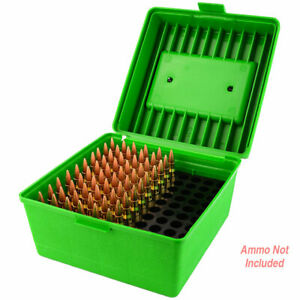 MTM Deluxe Ammo Box 100 Round Handle 22-250 to 458 Win Green