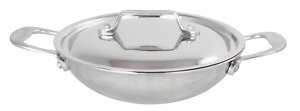 New Stainless Steel Indian Kadhai with Lid for Cooking Kitchen Use Cookware Wok