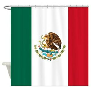 CafePress Mexican Flag Decorative Fabric Shower Curtain (69